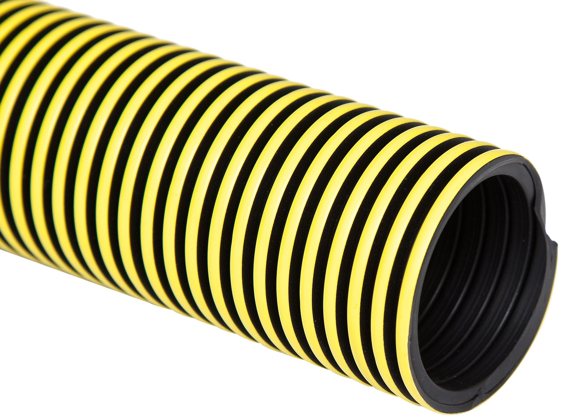 Flexaust 5991500200 Statpath Plus Polyethylene Flexible Hose, 18 psi, 25' Length, 1.5'' ID, Yellow