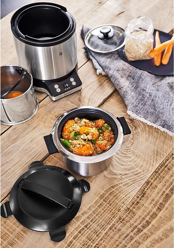 WMF Arrocera 220 W con 1 L de capacidad, con tapa recipiente, base dual, mantenimiento automático del calor, incluye taza y cuchara medidora, exterior de acero inoxidable de cromargan mate: Amazon.es: Hogar