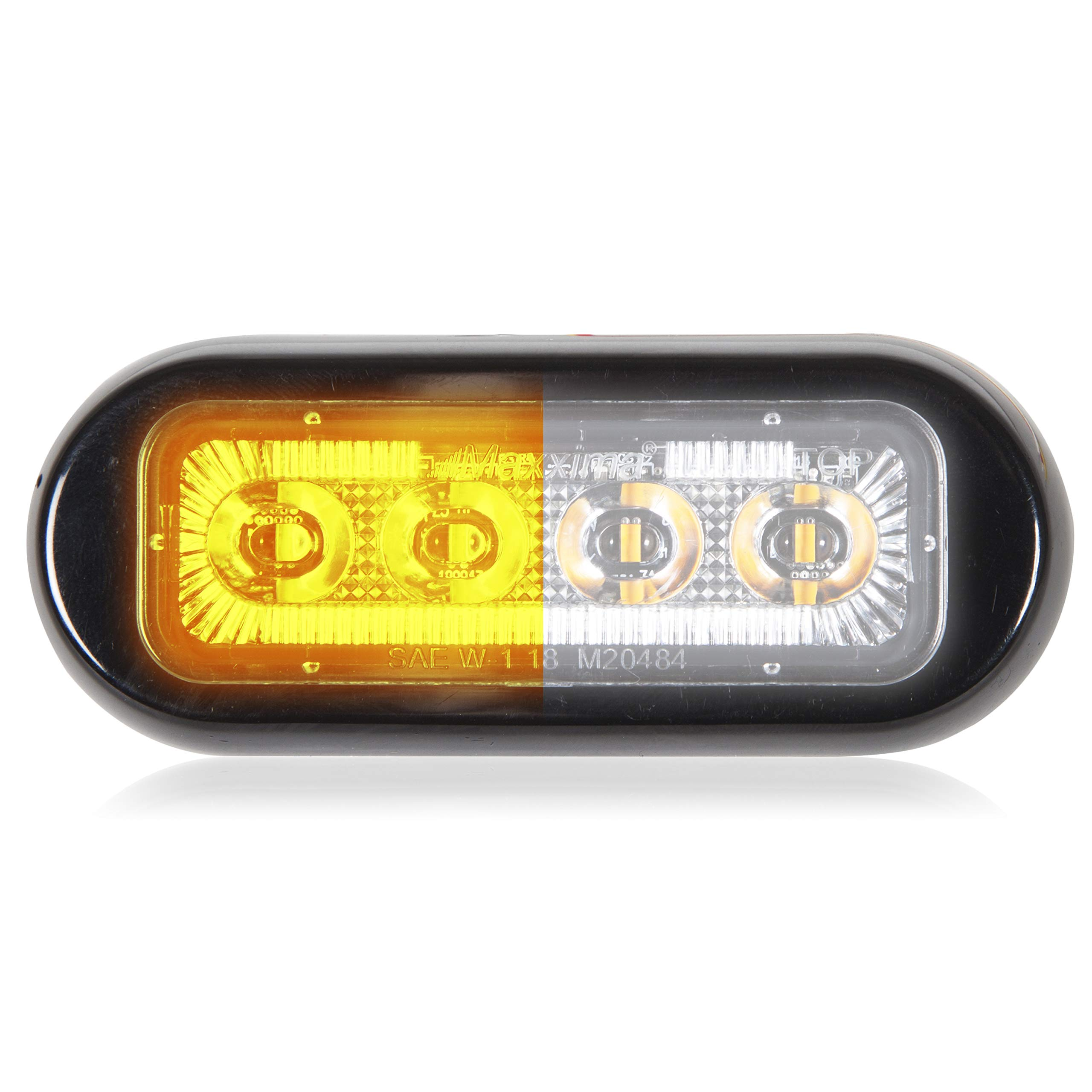 Maxxima M20484YWCL 4 LED Rectangular Surface Mount Warning Amber/White Clear Lens