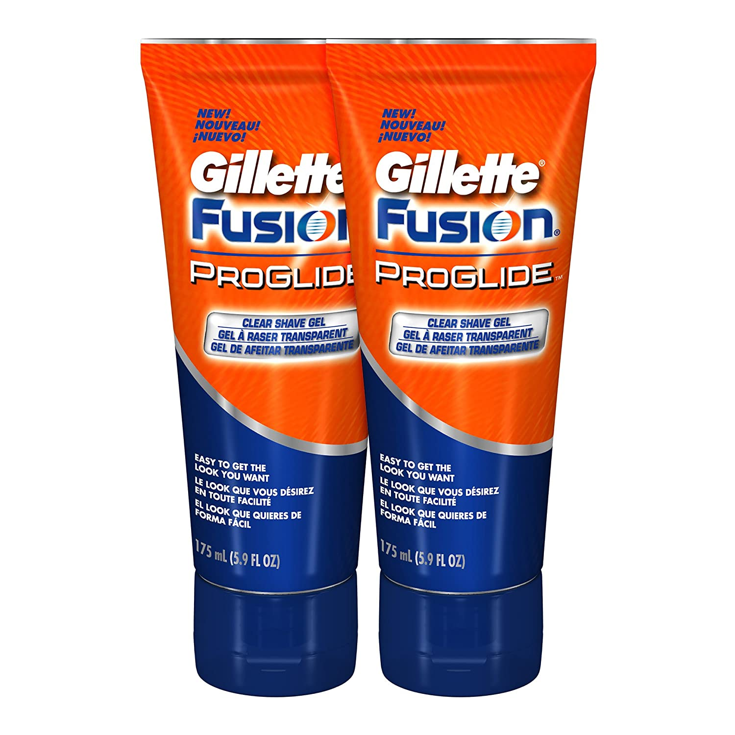 Gillette Fusion ProGlide Shave Gel, Clear, 5.9 Ounce (Pack of 2)