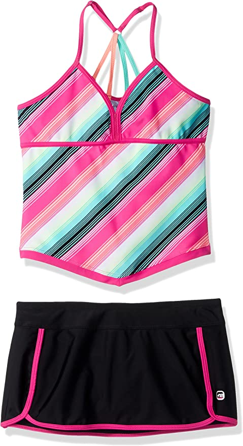Free Country Girls Stripe Tankini with Adj Back Straps /& Bottom Brief Little