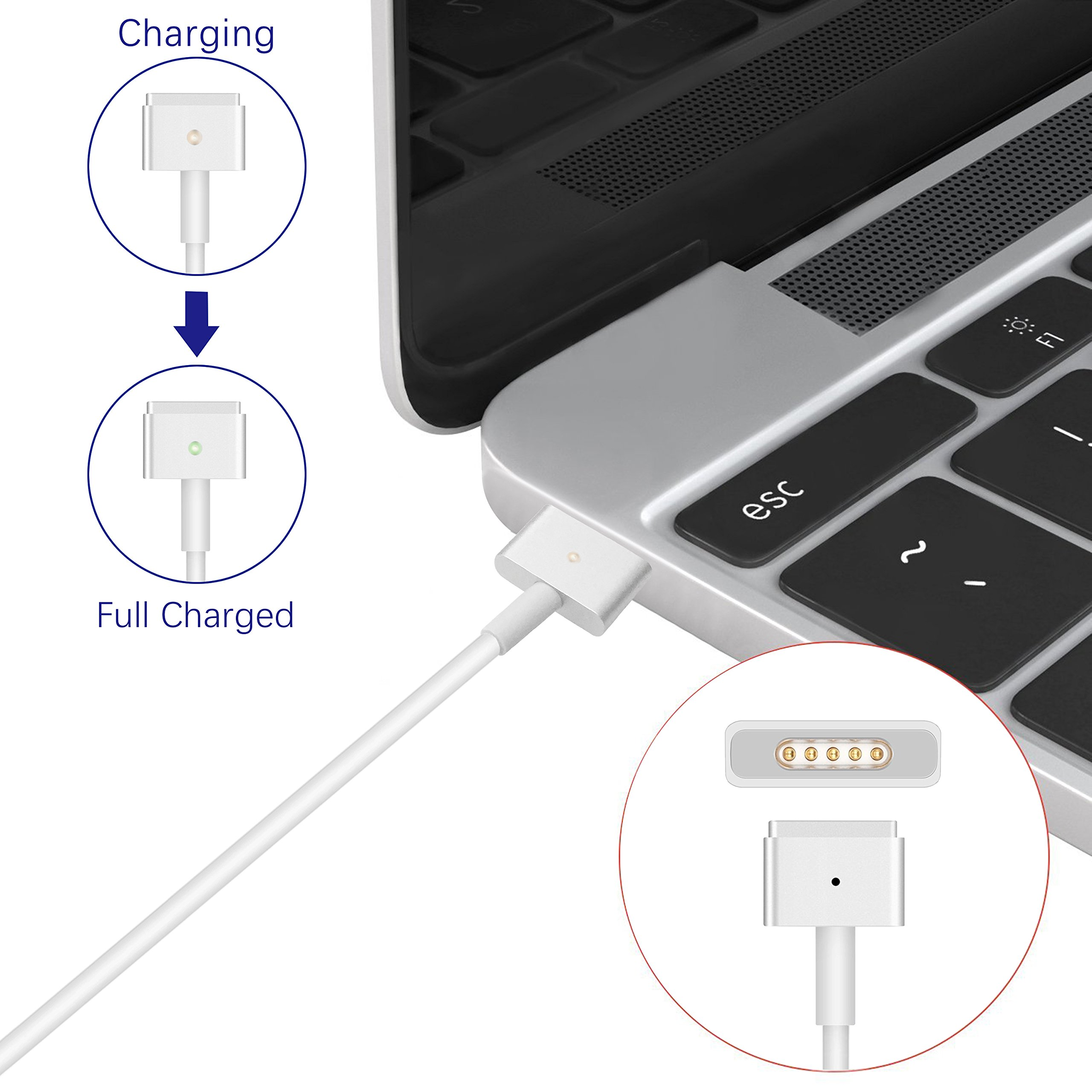 MacBook pro Charger, and Compatible with 45W, Aonear 60W Magsafe 2 T-Tip Replacement Adapter for 13 inch MacBook Pro Charger- After Late 2012 by aonear (Image #4)
