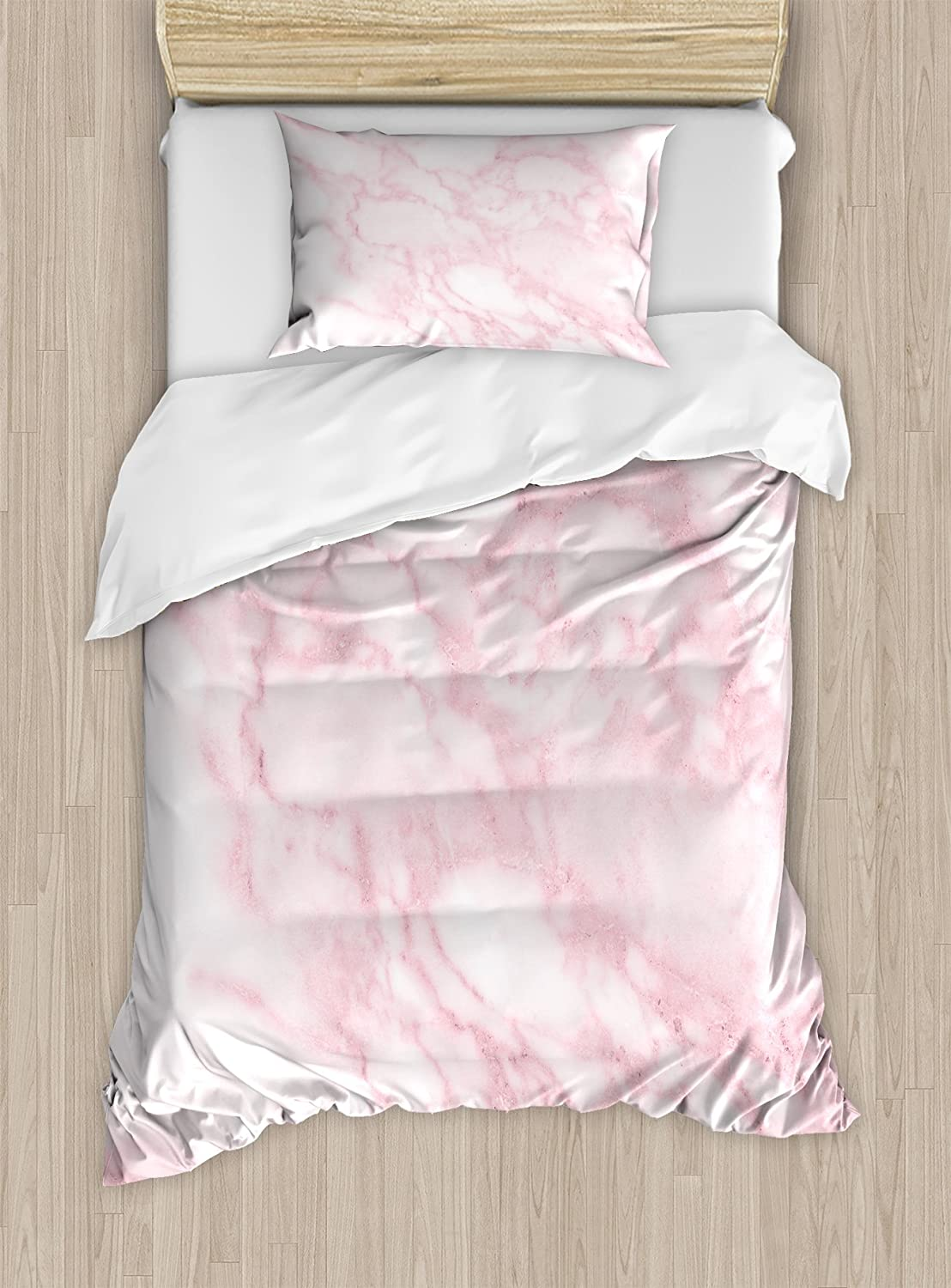 Ambesonne Marble Duvet Cover Set, Soft Granite Texture Old Fashion Space Stone Abstract Macro Scratches Girls Image, Decorative 2 Piece Bedding Set with 1 Pillow Sham, Twin Size, Pink