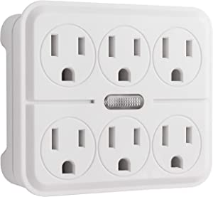 GE 6 Outlet Grounded Power Tap with Guide Light, 3 Prong Wall Adapter, Twist-to-Lock Safety Covers, Automatic Soft Glow Orange Night Light, UL Listed, White, 14470