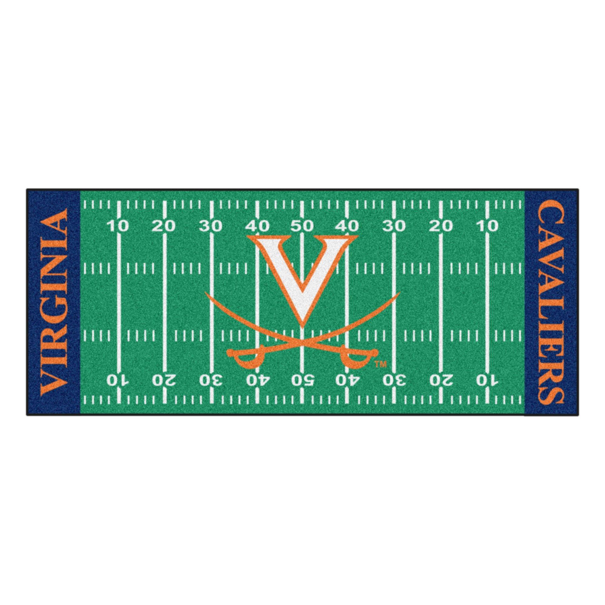 NCAA University of Virginia Cavaliers Football Field Runner Mat Area Rug