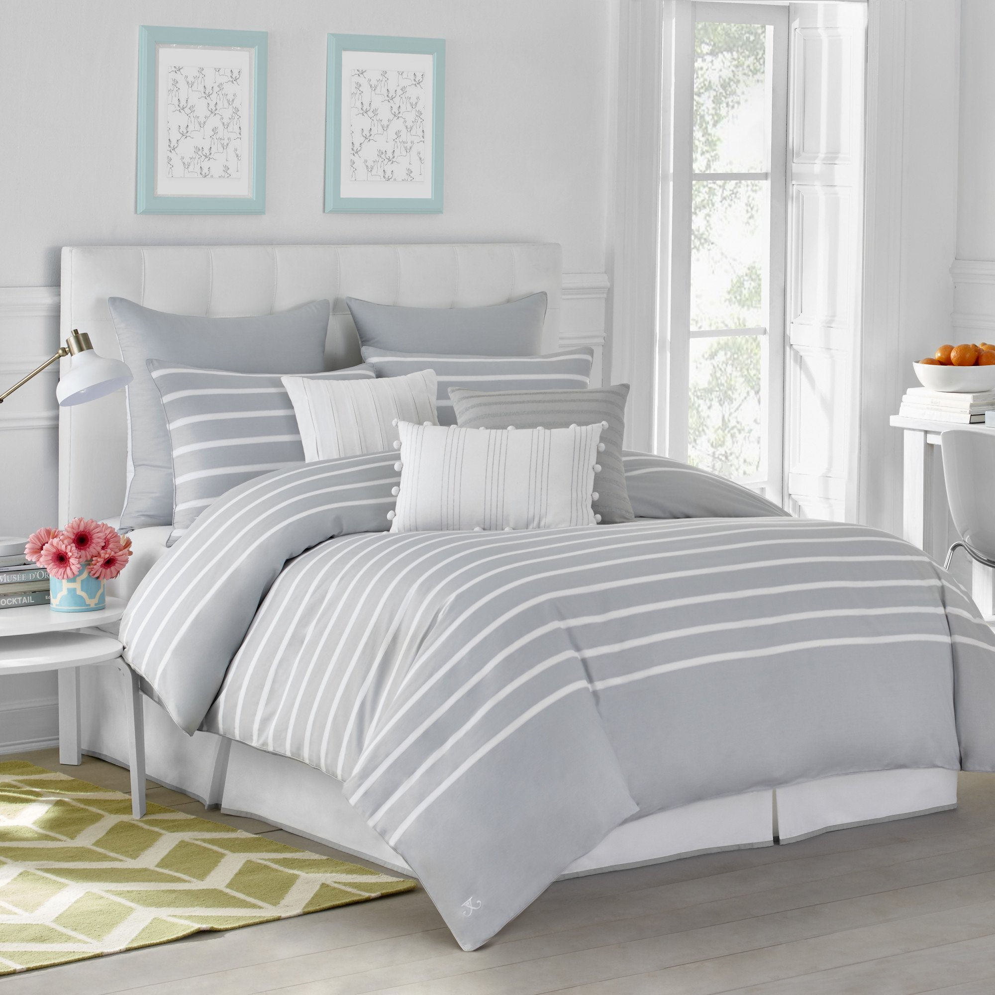 CAPRI STRIPE DUVET COVER BY JILL ROSENWALD - Twin, Cotton, Soft, Reversible, Patterned, Graphic, Modern Bedroom - Twin, Pearl Gray