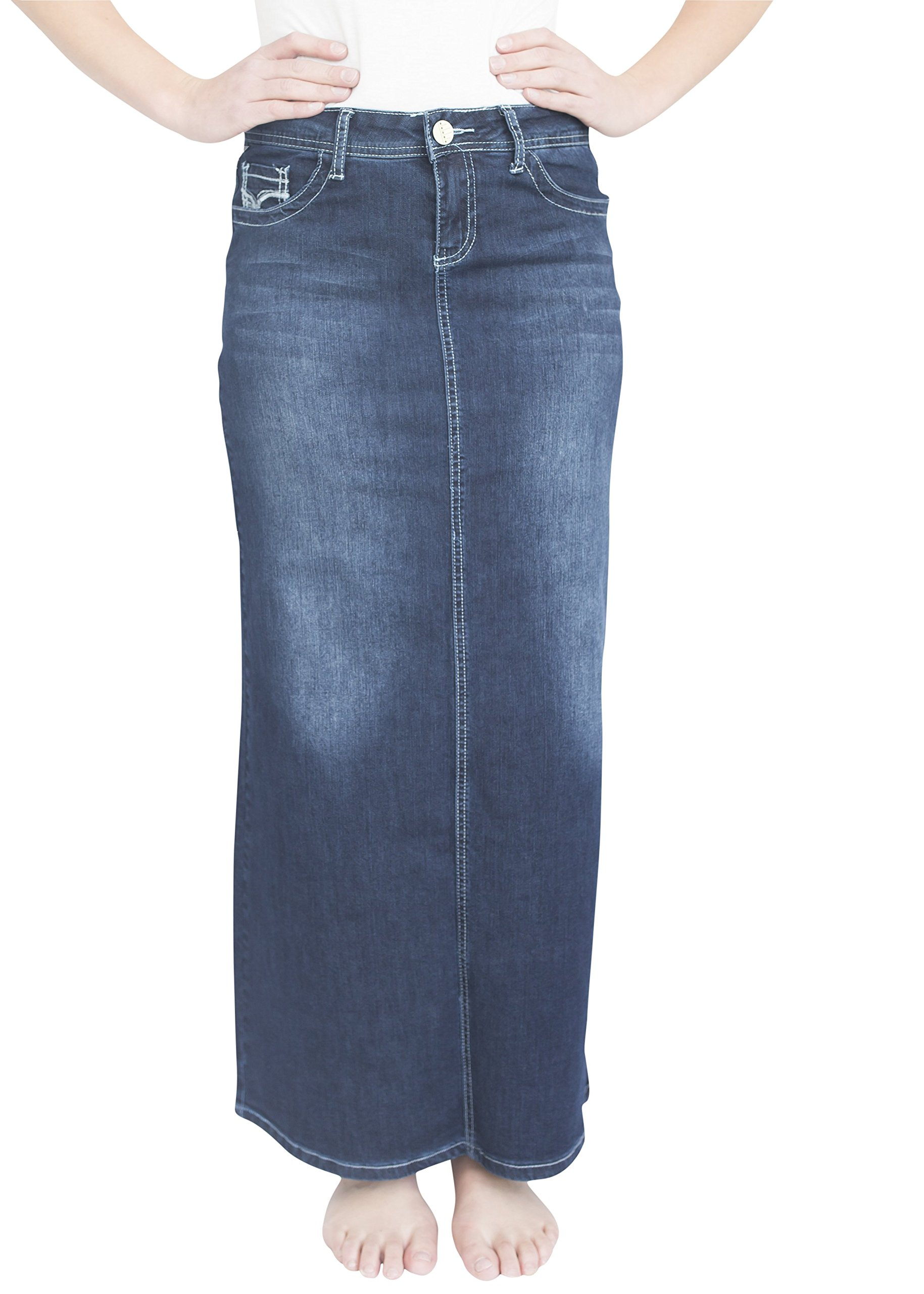 Stella Dark Wash Long Jean Skirt 41 inch Length