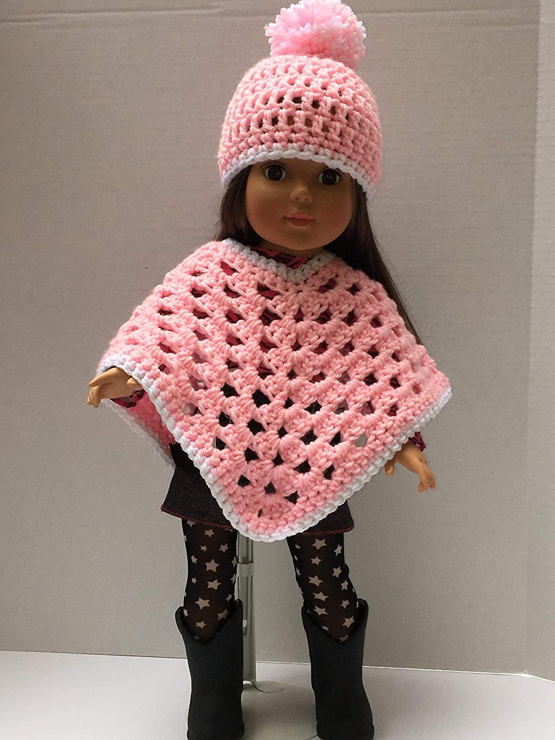 Doll not included and matching pink Beanie with pink and white Pom Pom New Handmade Crocheted Poncho pink with white trim for an 18 inch Doll