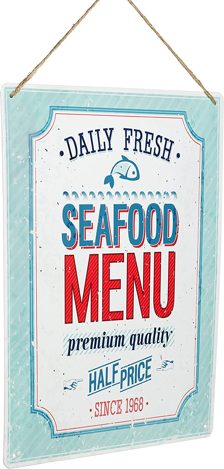 """Monarch Housewares Tin Metal Signs - """"Daily Fresh, Seafood Menu"""" - Foodie, Food and Restaurant, Modern, Retro Style, Wall Decorations"""