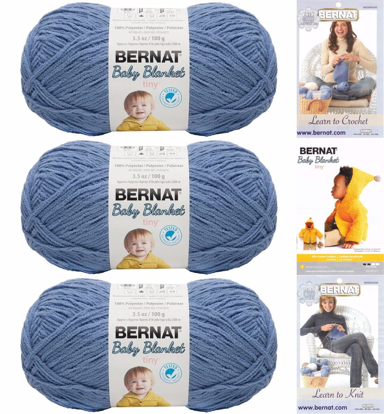 Amazon Bernat Baby Blanket Tiny 3 Pack 100 Percent Polyester