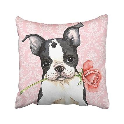 Amazon Suesoso Pillowcover 40X40 Valentine Rose Boston Simple Boston Terrier Decorative Pillow