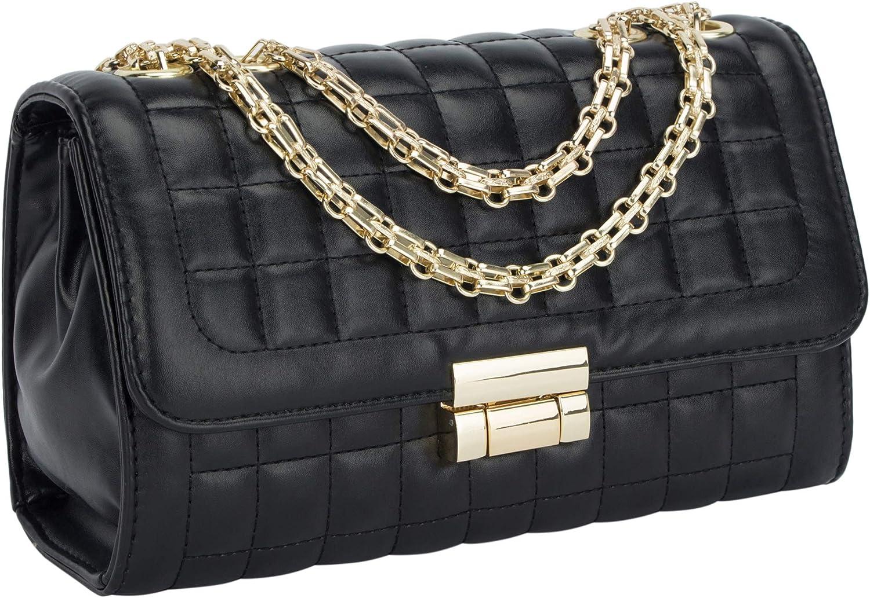 Women's Classic PU Leather Crossbody Purse Shoulder Bags Golden Chain Satchel Handbags