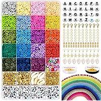 5000 polymeerklei platte ronde kralen, 6 mm platte polymeerklei schijfkralen en 218-delige witte letters AZ met 120…