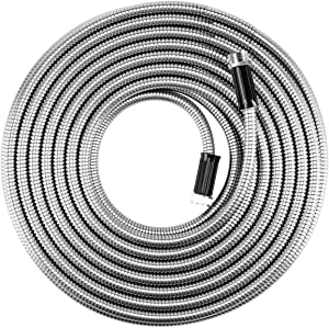 "BEAULIFE Metal Stainless Steel Garden Hose 50 Ft No Kink Lightweight Water Hoses Heavy Duty 3/4"" Hose Bib Faucet Reel Extender for Outdoor"