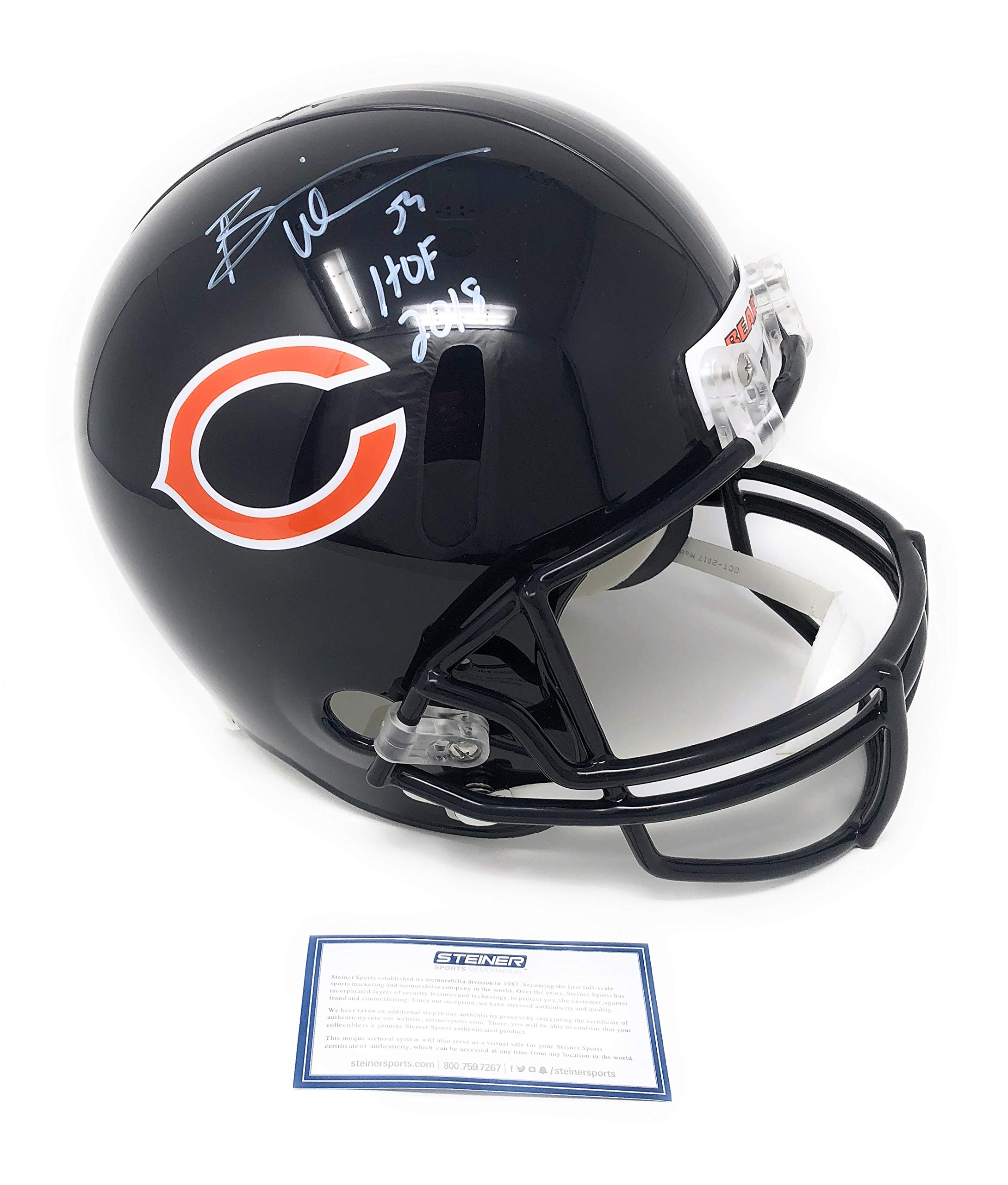 Brian Urlacher Chicago Bears Signed Autograph Full Size Helmet HOF Inscribed Steiner Sports Certified