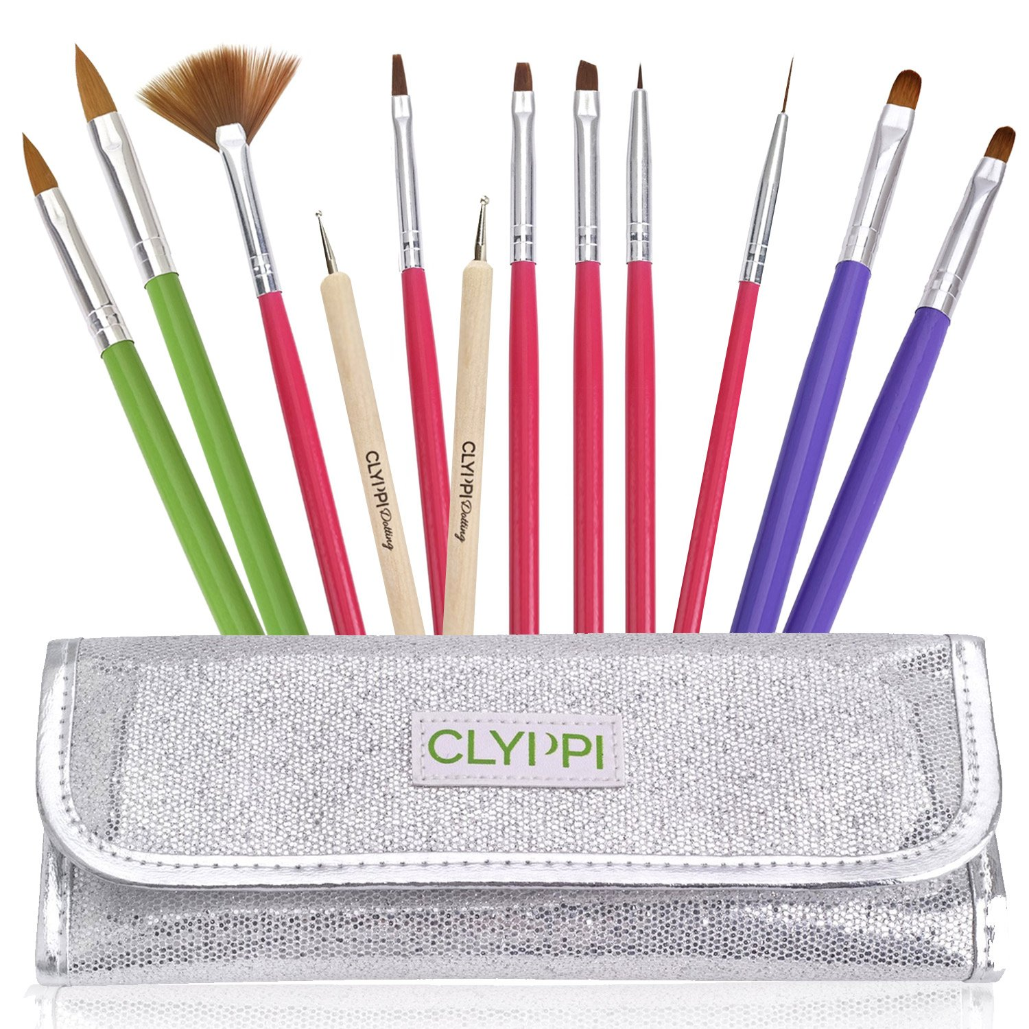 Amazon clyppi nail art gel and acrylic brushes set with amazon clyppi nail art gel and acrylic brushes set with dotting tools silver pouch beauty sciox Gallery