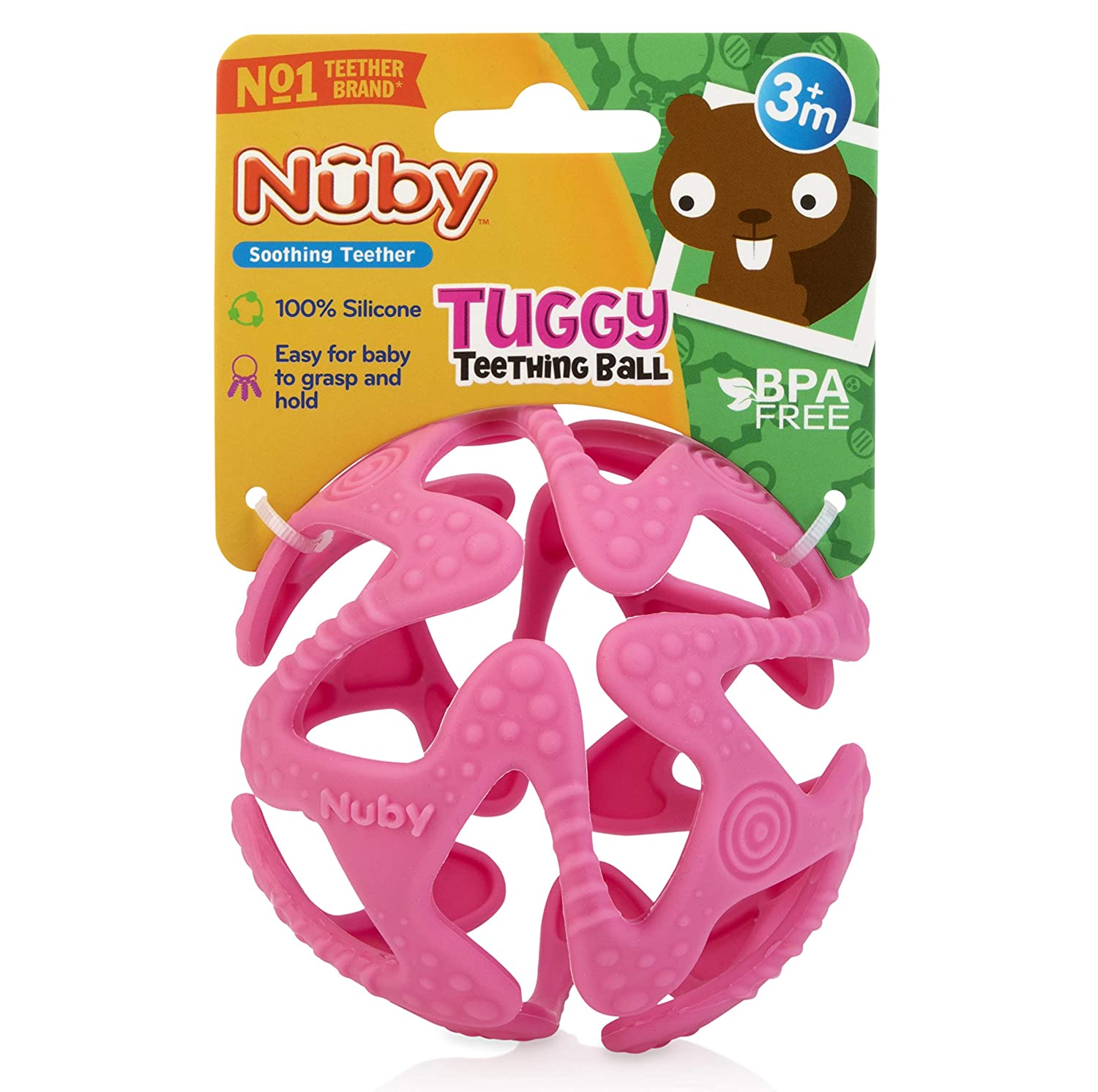 6836 3 Months + Nuby 100/% Silicone Tuggy Teether Ball Colors May Vary Unique Look Inc