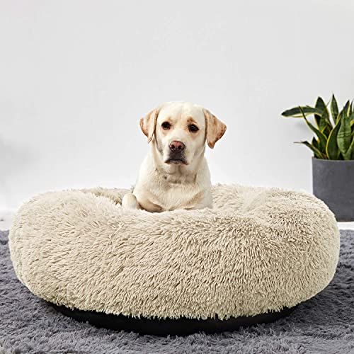 ANWA Washable Dog Round Bed Medium, Donut Dog Bed Large Dog, Comfy Dog Calming Cuddler Bed