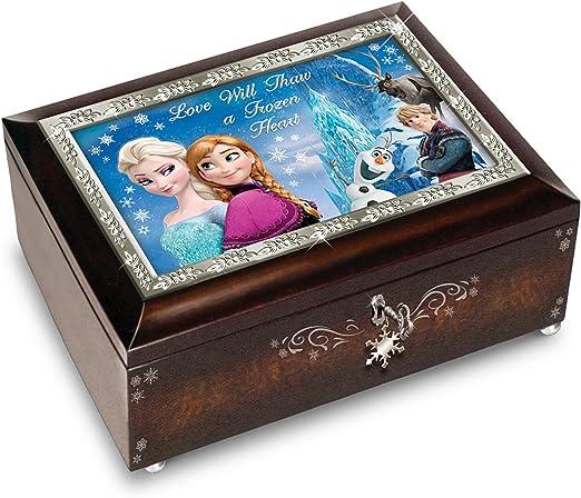 Marrón y azul o Disney Frozen caja de música con melodía de