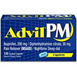Advil PM Pain Reliever / Nighttime Sleep Aid Coated Caplet, 200mg Ibuprofen and 38mg Diphenhydramine (120 Count)