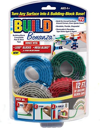 BUILD BONANZA Block Peel /& Stick Tape Works with LEGO® and Ontel
