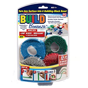 Build Bonanza BZ2M1-MC12/6 Self Adhesive Tape Works Building Block Tape, Blue/Red/Grey/Green, N/A