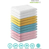 Ecolinen Bamboo Washcloths Towel Set 12 Pack Soft Baby Wash Cloth for Bathroom-Hotel-Spa-Kitchen Multi-Purpose Fingertip Towels & Face Cloths 12'' x 12'', Assorted Color
