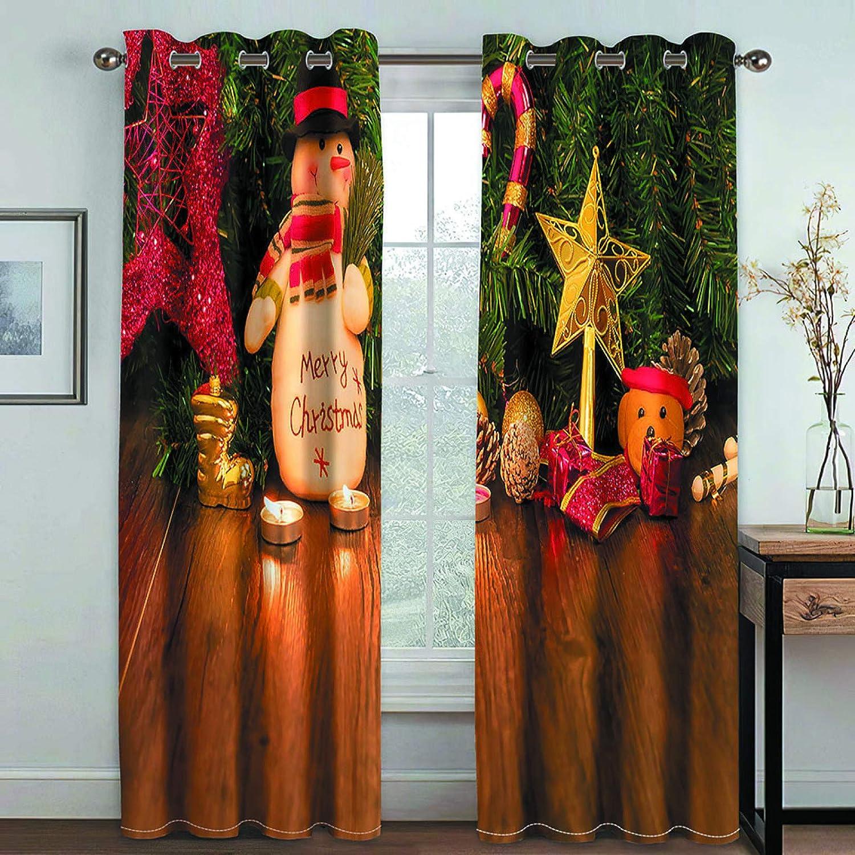 MMHJS Cortinas De Tela Impresas En 3D Navideñas Cortinas De Partición Impermeables De Poliéster Nórdico, Cortina De Dormitorio Y Sala De Estar, Artículos para El Hogar (2 Piezas)