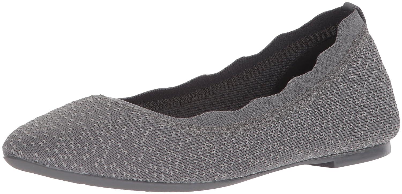 Skechers Women's Cleo Dots Scalloped Collar Engineered Knit Skimmer Ballet Flat