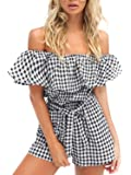 Missy Chilli Women's Off Shoulder Lotus Leaf Plaid Cotton Romper Short Jumpsuit
