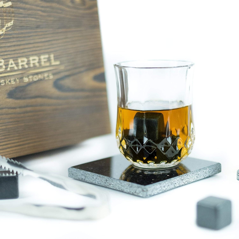 Black Barrel Premium Whiskey Stones - Set of 10 All Natural Granite Beverage Chilling Rocks Includes Velvet Bag and Tongs for Whiskey, Vodka, Gin, Tequila