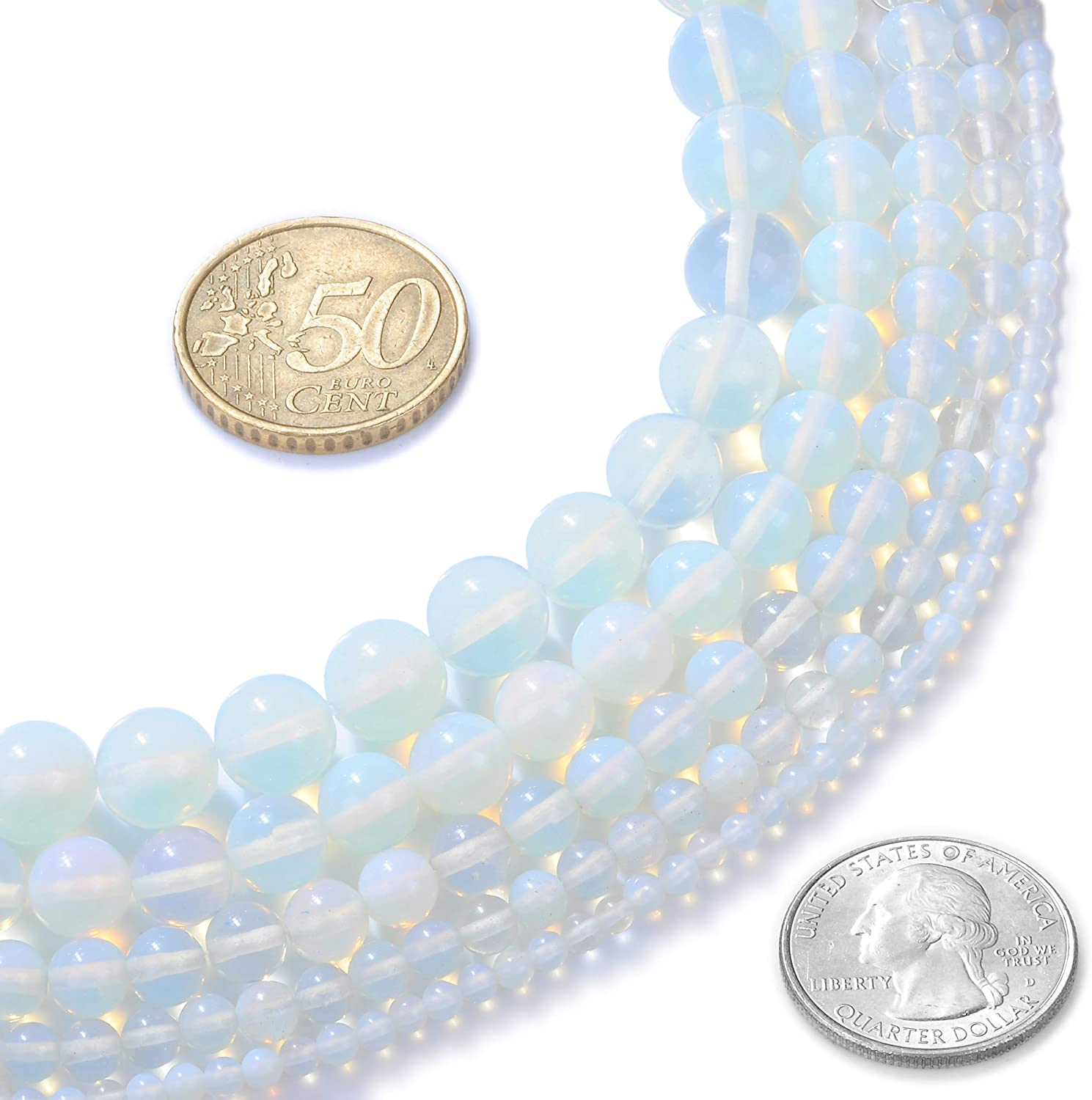 """8mm Created Moonstone Round Beads 14/"""" Strand Oz Seller Opalite"""
