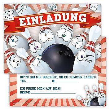 12 Lustige Einladungskarten Im Set Fur Kindergeburtstag Bowling