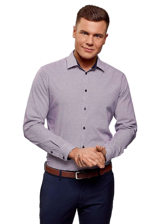 oodji Ultra Uomo Camicia Aderente con Stampa Grafica