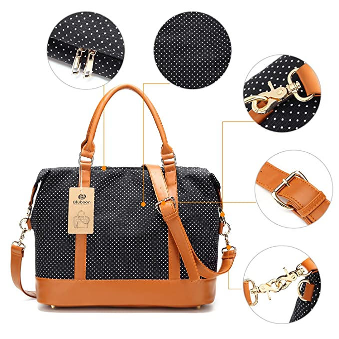 0757848ba87 Amazon.com   Women Ladies Canvas Weekender Bag Overnight Carry-on Tote  Duffel in Trolley Handle (Polka Dot Black)   Carry-Ons