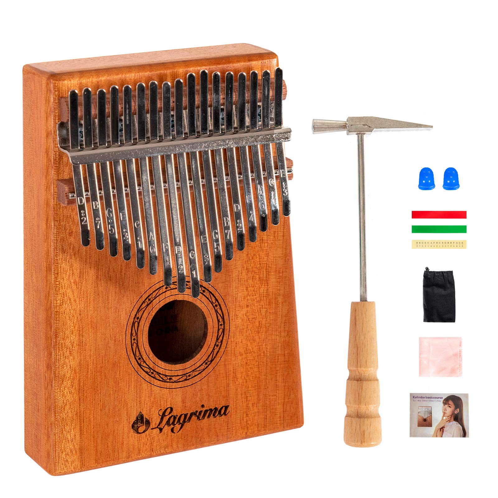 LAGRIMA Kalimba 17 Keys Thumb Piano with Thumb Piano Bag, Tune kit Hammer,Study Instruction and Song Book,Portable Mbira Finger Piano Gifts for Kids and Adults Beginners (Natural)