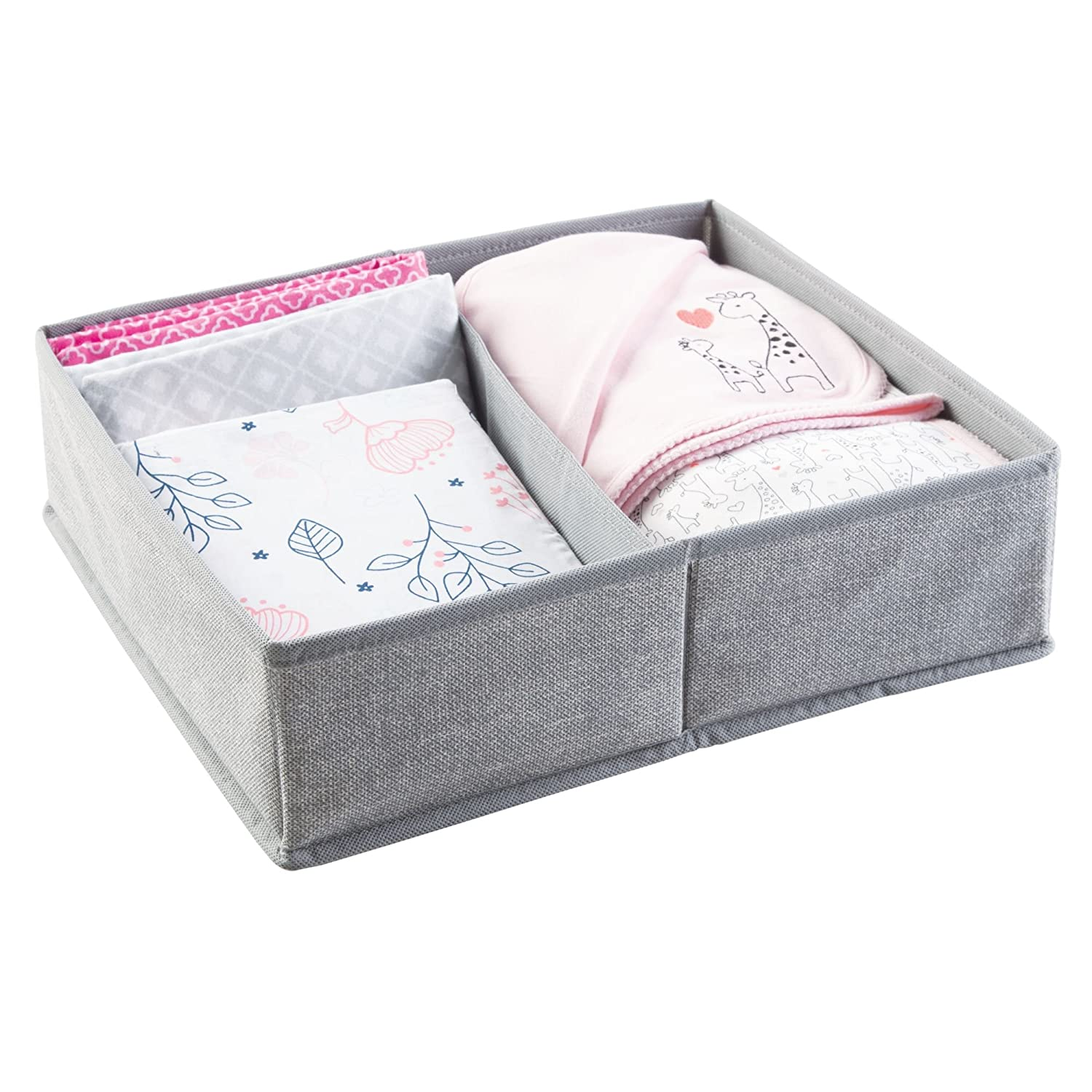 mDesign Fabric Dresser Drawer Insert - 2 Compartment Baby Organiser - Large Fabric Storage Boxes - Ideal Wardrobe Storage Solutions for Nappies, Toys, Wipes, and More - Grey MetroDecor 1435MDB