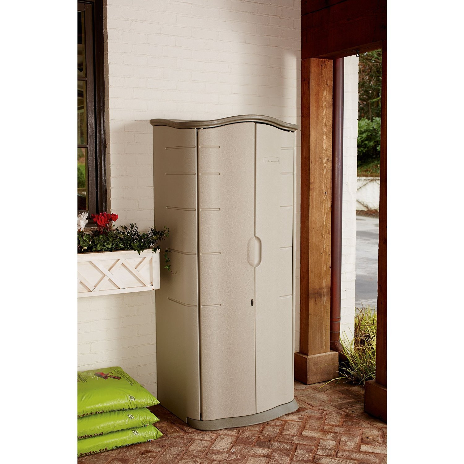 Amazon Rubbermaid Outdoor Vertical Storage Shed Plastic 17