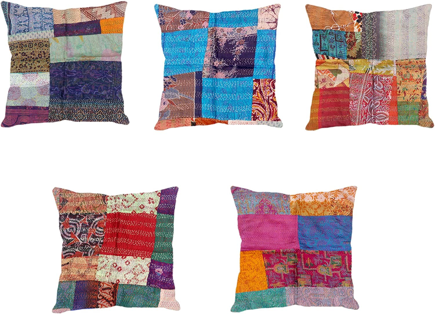 Indistar Set Of 5 Throw Pillow Cover Silk Patchwork Cushion Covers With Traditional Indian Kantha Work Decorative Cushion Covers 18 X 18 Inch 93100 482 Iw P5 Home Kitchen Throw Pillow Covers