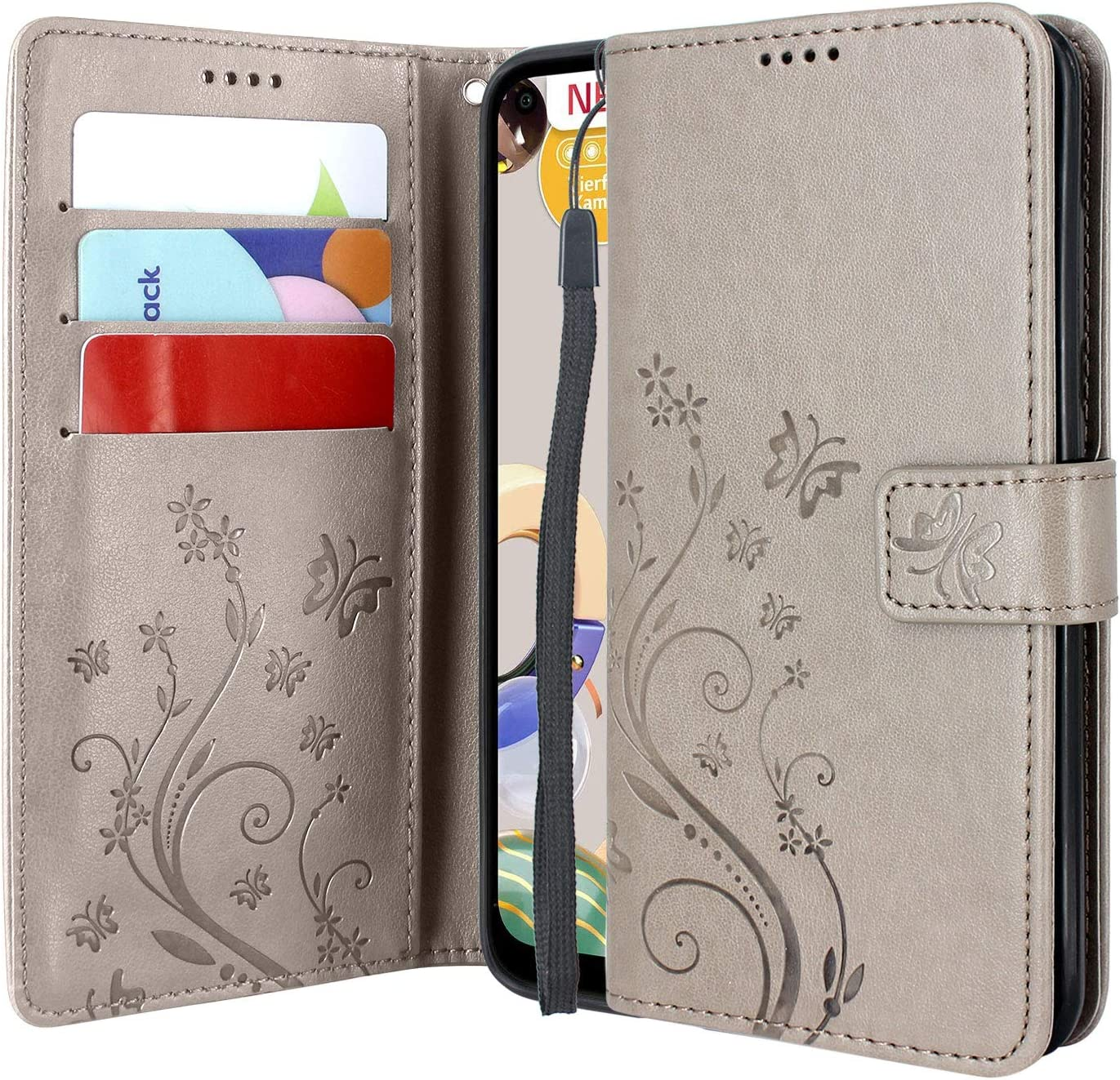 CMID Funda LG K61, PU Cuero Libro Billetera Tapa Antigolpes Protective [Función de Soporte] Cartera Carcasa Case para LG K61 (Gris): Amazon.es: Electrónica