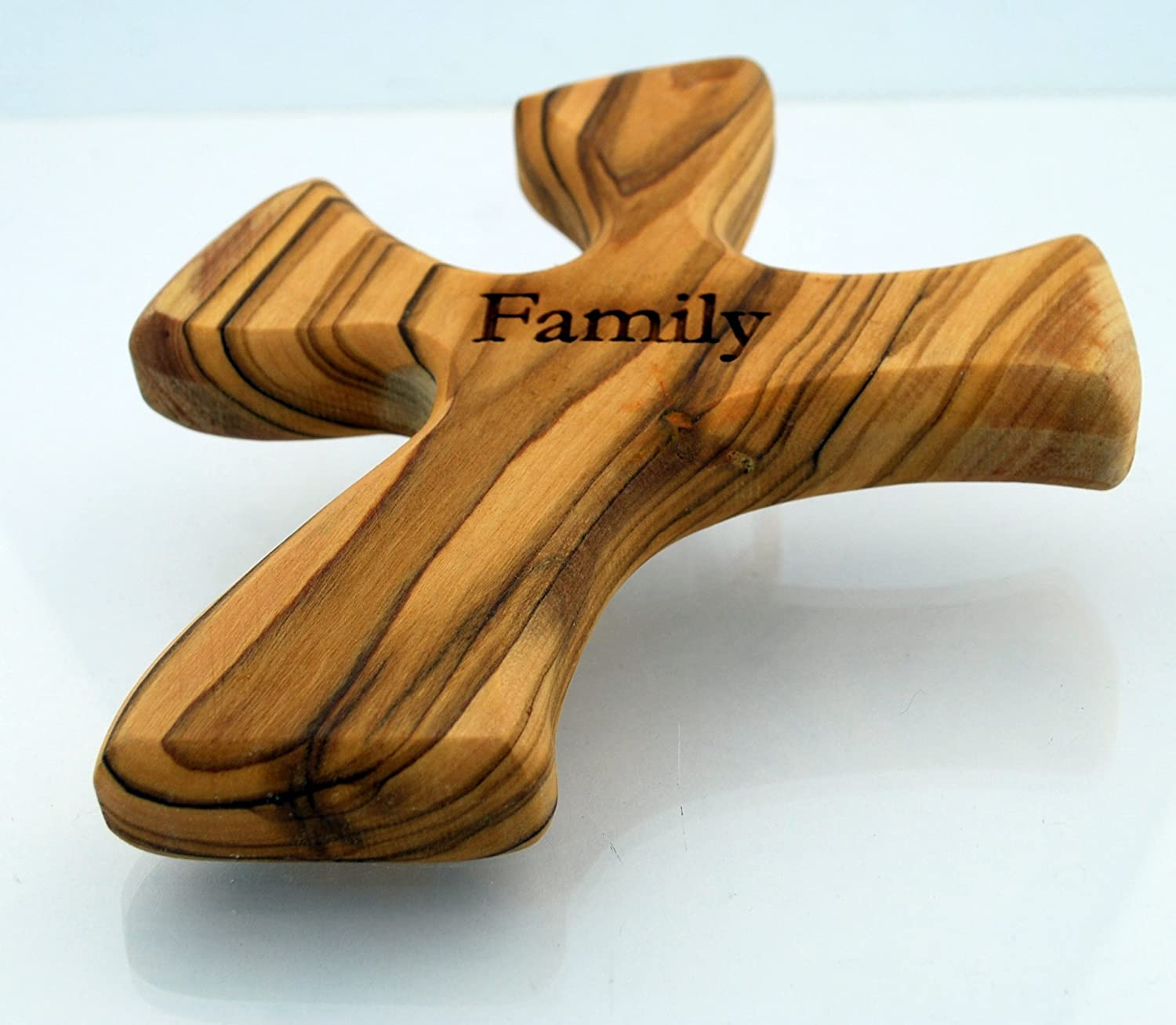 Hand Held Cross Made to Perfectly Fit in Your Hand Olive Wood Prayer Cross Family