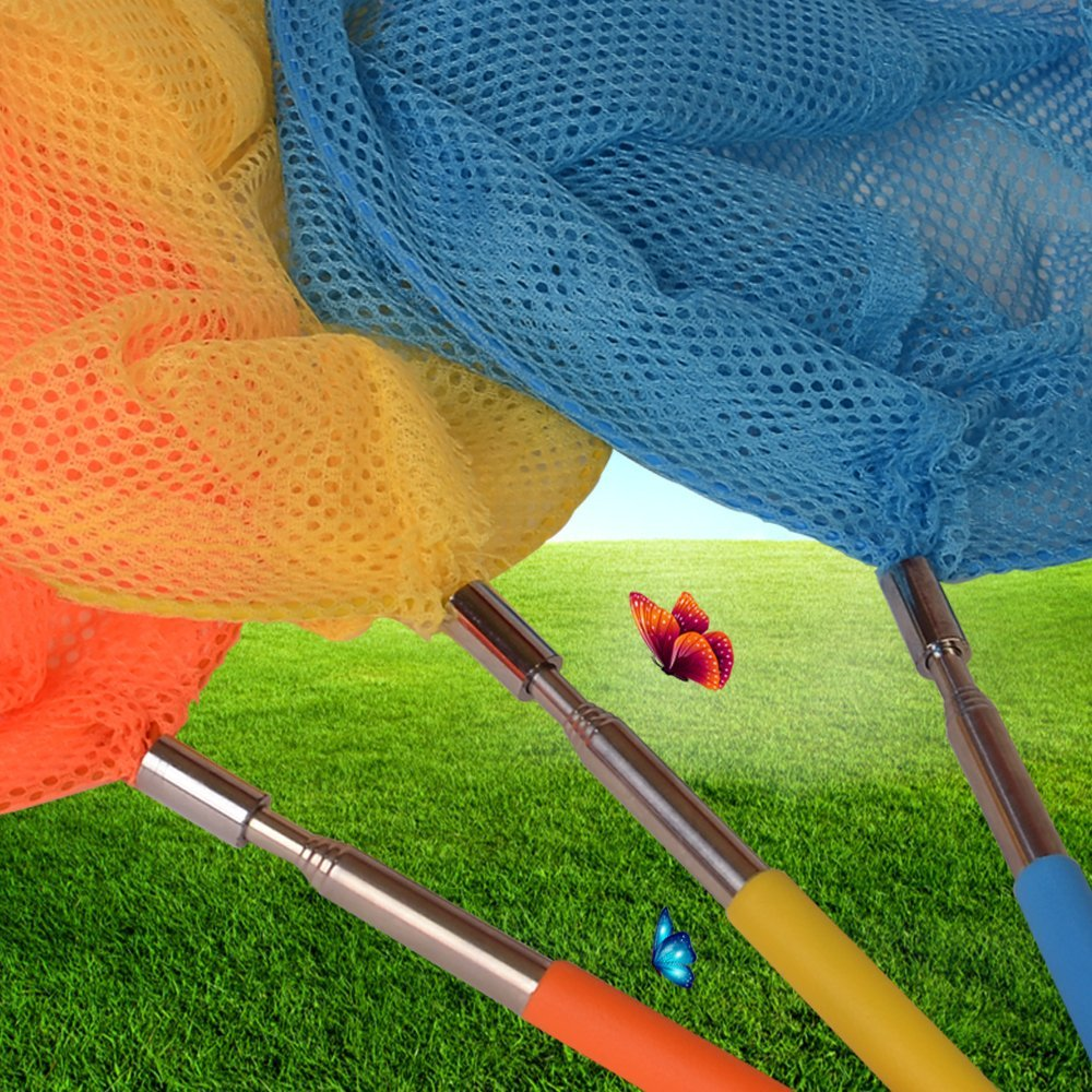 Extendable from 7.9 to 33.9 Blue Orange Yellow Onepine 3 Pack Kids Telescopic Butterfly Nets Catching Insects Bugs Fishing Nets