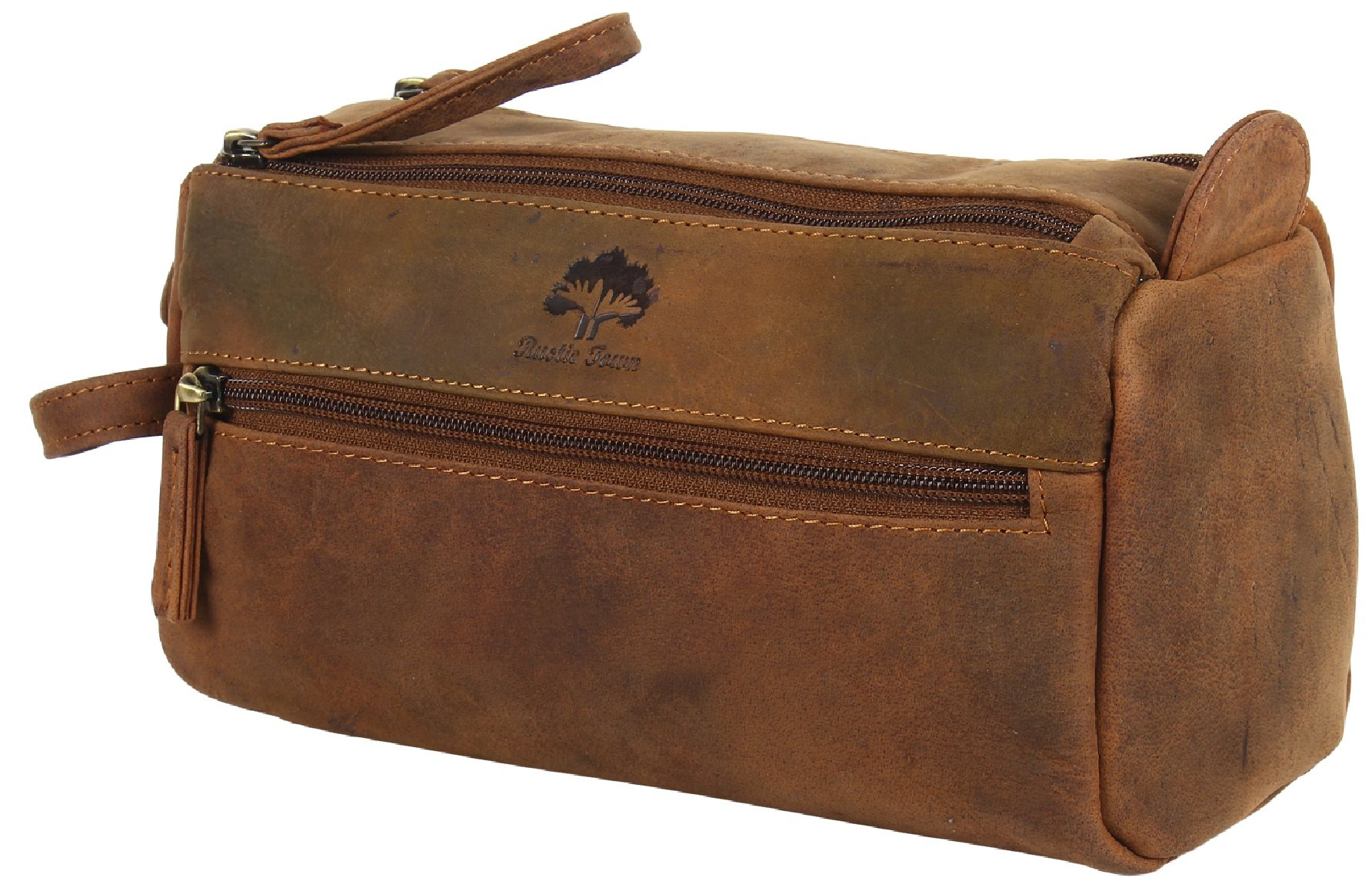 Genuine Leather Travel Toiletry Bag - Hygiene Organizer Dopp Kit By Rustic Town