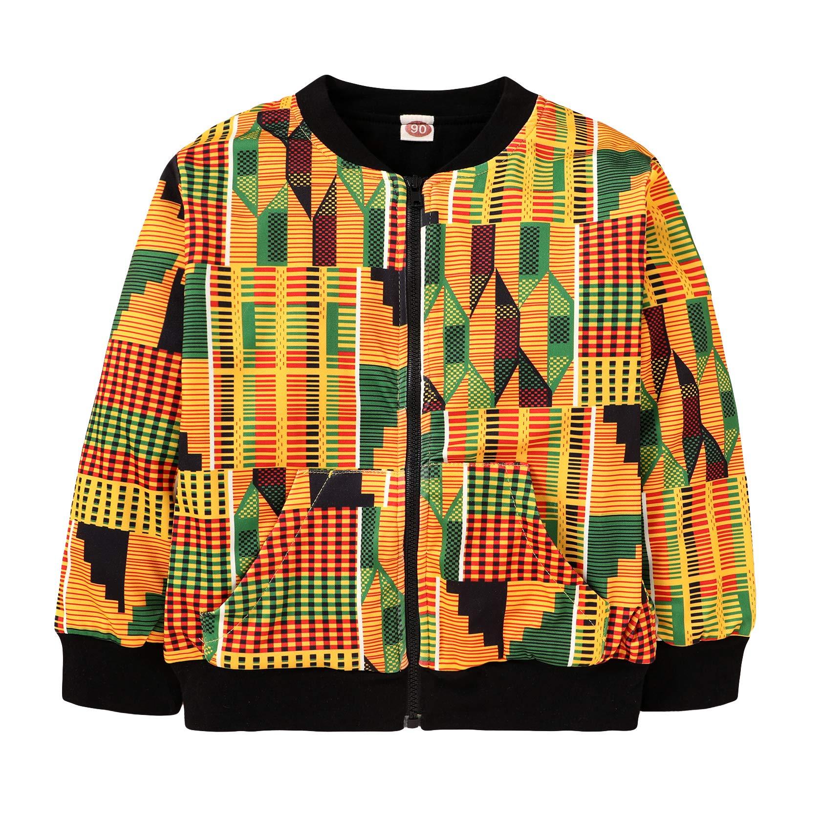 Toddler Little Girls Boys Boho National Print Windproof Outerwear Dashiki Coat WOCACHI Unisex Kids African Jackets