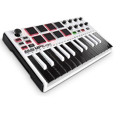 AKAI Professional MPK MINI MKII LE White - Teclado Controlador MIDI USB Portátil con 25 Teclas, 8 Pads MPC, 8 potenciómetros, Joystick, VIP 3 y Paquete de Software - color blanco, edición limitada