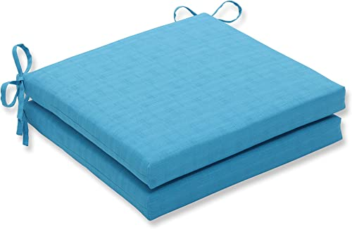 Pillow Perfect Outdoor/Indoor Veranda Turquoise Squared Corners Seat Cushion 20x20x3 Set of 2 ,Blue