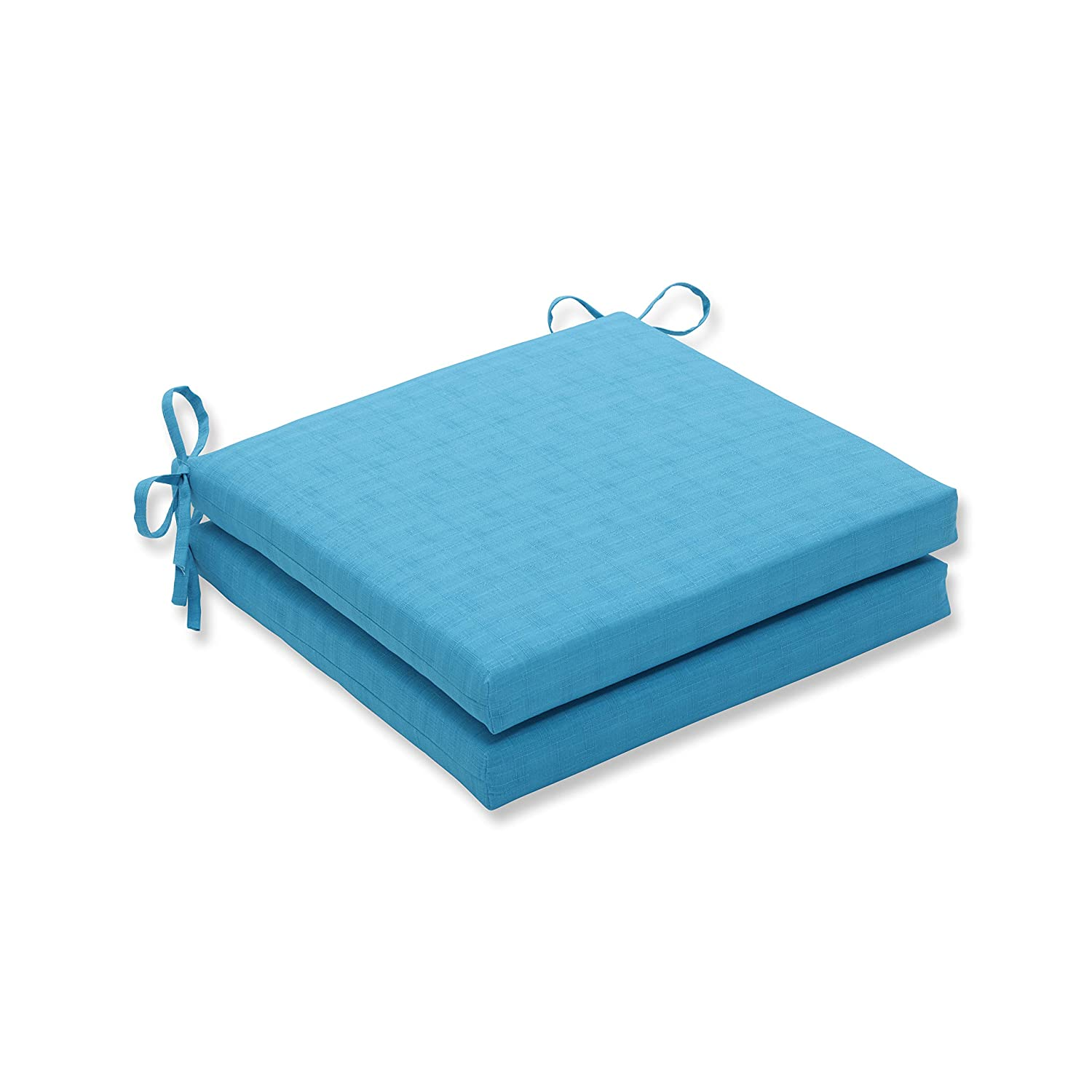 Pillow Perfect Outdoor Indoor Veranda Turquoise Squared Corners Seat Cushion 20x20x3 Set of 2