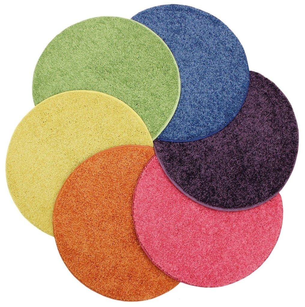 """Bright Multi Set 6 Kids Crazy Carpet Circle Seats 18"""" Round Soft Warm Floor Mat - Cushions 