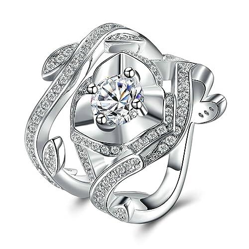 4a5fbc62f5b8 Blisfille Anillo de Boda Mujer Anillo Oro Blanco Mujer Diamantes Halo Anillo  de Mujer Chapado en Plata