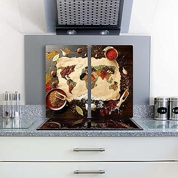 gsmarkt herdabdeckplatte schneidebrett spritzschutz set 2x30x52 bild auf glas sicherheitsglas gehrtetes glas bild - Glasbilder Kuche Spritzschutz